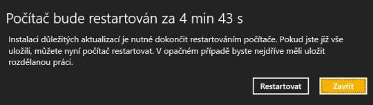 Automatické restartování počítače po instalaci aktualizací ve Windows 8