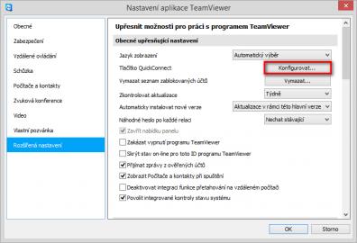 Rozšířené nastavení aplikace TeamViewer