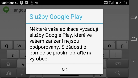 Chyba Google Play na Huawei Ascend